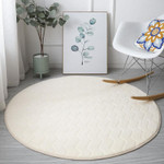 Round Coral Fleece Carpets Brown Modern Solid Colour White Theme Round Rug Home Decor