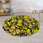 Brilliant Yellow Monarch Butterfly Round Rug Home Decor