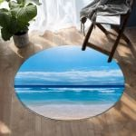 Peace Of The Beach Blue Sky Round Rug Home Decor