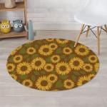 Brown Theme Sunflower Green Leave Garden Round Rug Home Decor