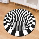 3d Black White Optical Illusion Colorful Round Rug Home Decor