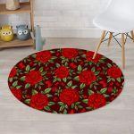 Red Rose Flower Lovely Design Round Rug Home Decor