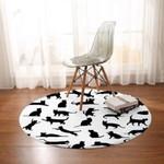 Multi Black And White Cute Round Rug Home Decor