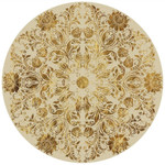 Royal Yellow Floral Traditional Pattern Round Rug Home Decor