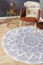 Lunar Bohemian White Ornamental Round Rug Home Decor