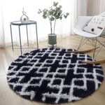 Black White Geometric Soft Unique Design Round Rug Home Decor