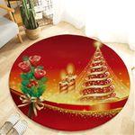 Yellow Christmas Tree Christmas Holiday Pattern Round Rug Home Decor