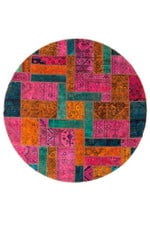 Aztec Ornamental Persian Hand Knotted Patchwork Round Rug Home Decor