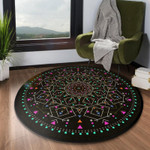 Hand Draw Pretty Flower Watercolor Round Rug Home Decor