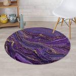 Violet Marble Pattern Round Rug Home Decor