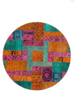 Ethnic Aztec Persian Hand Knotted Patchwork Round Rug Home Decor