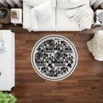 Round Rug Home Decor Light Beige And Black Boho Abstract Tribal