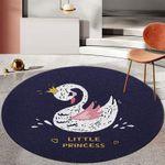 Black Swan Modern Cartoon Artistic Round Rug Home Decor