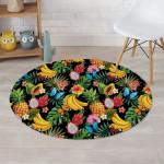 Tropical Fruit Hawaiian Banana And Pineapple Round Rug Home Decor