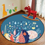 Grass Leaves Watercolor Round Rug Home Decor