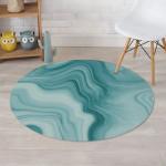 Green Ink Marble Design Round Rug Home Decor
