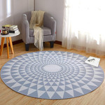 Wonderful Blue Geometric Round Rug Home Decor