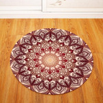 3d Pretty Red Geometric Round Rug Home Decor