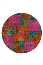 Dark And Persian Hand Knotted Patchwork Round Rug Home Decor