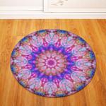 Pink Traditional Vintage Geometric Illustration Round Rug Home Decor