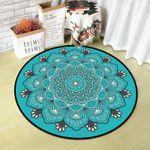 Dark Turquoise Beautiful Vintage Texture Round Rug Home Decor