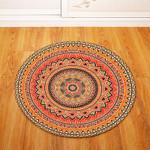 Coral Traditional Vintage Geometric Illustration Round Rug Home Decor