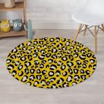 Yellow Leopard Skin Vivid Pattern Round Rug Home Decor