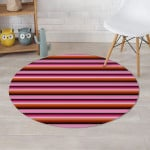 Red And Pink Mexican Baja Illusion Design Round Rug Home Decor