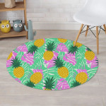 Pineapple Pink And Green Leave Round Rug Home Decor