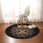 Floral Rose Flower And Skull Scary Round Rug Home Decor