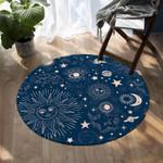 Blue Vintage Space Astrology Round Rug Home Decor