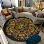 Datura Flowers Watercolor Round Rug Home Decor