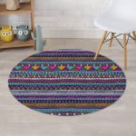 Multicolor Indian Aztec Geometric Art Design Round Rug Home Decor