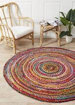 Atrium Chandra Braided Cotton Multi Round Rug Home Decor