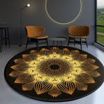 Modern Yellow Flora Watercolor Round Rug Home Decor