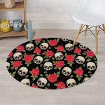 Rose Skull Beautiful Flower Black Theme Round Rug Home Decor
