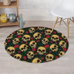 Mexican Rose Skull Design Round Rug Home Decor