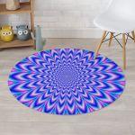 Blue Optical Illusion Charming Design Round Rug Home Decor