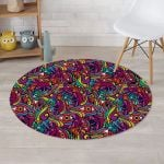 Psychedelic Trippy Eye Colorful Design Round Rug Home Decor