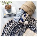 Dark Blue Floral Pattern Beautiful Design Round Rug Home Decor