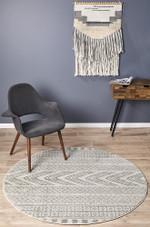 Mirage Adani Modern Tribal Design Grey Ornamental Round Rug Home Decor