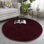 Dark Red Soft Comfortable Plush Round Rug Home Decor