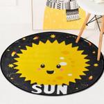 Cute Cartoon Sun And Planets Pattern Black Theme Round Rug Home Decor