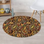 Sunflower With Corn Psychedelic Design Round Rug Home Decor