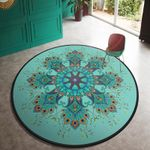 Quality Green Retro Bohemian Round Rug Home Decor