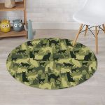 Cat Camouflage Pattern Round Rug Home Decor