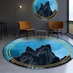 Black Mountain Pattern Blue Round Rug Home Decor