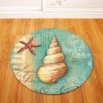 Conch Green Aquatic Creatures Background Round Rug Home Decor