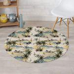Tropical Palm Lead Island Peaceful Landscape Round Rug Home Decor