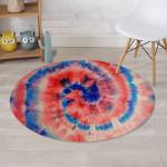 Tie Dye Swirl Batik Blue And Red Pattern Round Rug Home Decor